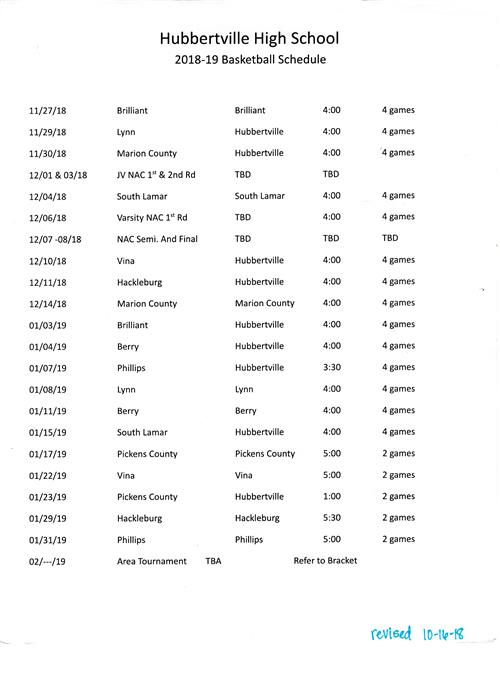 Basketball Schedule 2018-19